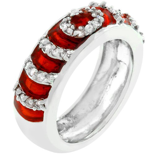 Eternity 14k White Gold Plated CZ Garnet Ring Size 6