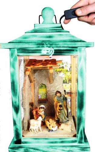 Große KLG-MFOS-TÜRKIS Holzlaterne, Weihnachtskrippe MIT KRIPPENFIGUREN,Figuren, mit Beleuchtung 220V, Laterne aus Holz türkis amazon meeresblau blau, Vitrine, Glasvitrine