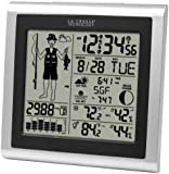 La Crosse Technology 308-1451 Atomic Forecast Station with Fisherman Icon, In/Out Temperature, Humidity, Barometer, Sunrise/Sunset, Dual Alarms