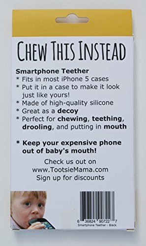 Chew-This-Instead-iPhone-Shaped-Baby-Teething-Toy-Black-Safe-for-Infants-and-Toddlers-Soft-Silicone-BPA-Free-by-Tootsie-Mama