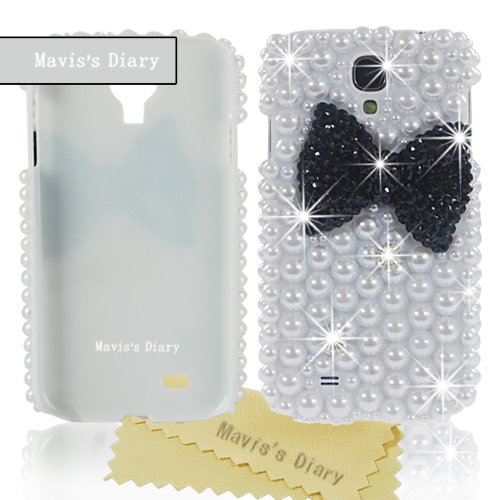 Mavis'S Diary New 3D Handmade Bling Big Black Bow Back Case Cover Hard Purple For Samsung Galaxy S4 S Iv I9500 With Soft Clean Cloth