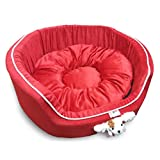 Super Dog Medium Round Bed With Puppy Face In Red