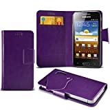 (Purple) Samsung I8700 Omnia 7 Protective Mega Thin Faux Leather Suction Pad Wallet Case Cover Skin With Credit/Debit Card Slots Aventus