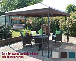 Twyford Metal Framed Garden Party Gazebo With Cafe Brown Canopy
