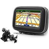 Support GPS Guidon Moto Scooter Vélo - 3 ans de Garantie - Avec Protection Résistant aux intempéries pour GPS de 3,5 pouces pour Coyote, Mappy, Garmin 55LMT, Magellan eXplorist, TomTom Ease & plus de Systèmes de Navigation GPS - Par USA GEAR