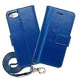 Hy+ iPhone7 (アイフォン7) 本革レザー ケース 手帳型 (ネックストラップ、カードポケット、スタンド機能付き) ブルー