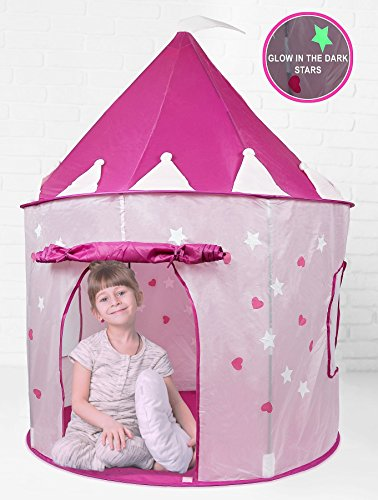 Cheapest Price! Click n' Play Girl's Pink Princess Castle Play Tent Features Glow in the Dark Stars