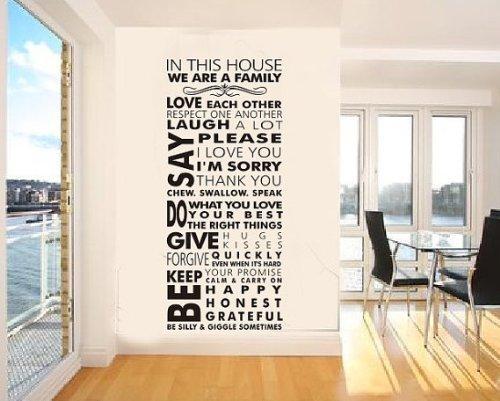 """Kayau Adesivo Murales """"House Rule WE ARE FAMILY"""" Wall Sticker del Sfondo Decorazione Della parete del Fai da te PVC Adesivi Murali 55x128 cm"""