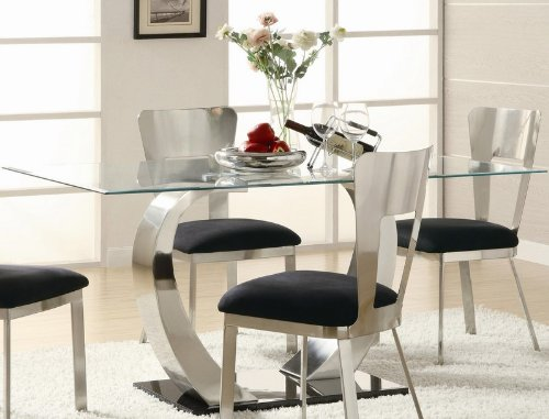 Cheap Rectangular Dining Table with Glass Top and Metal Base (VF_120471)