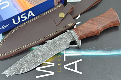 Unforgettable Christmas Gift by ColdLand Knives | Handmade Damascus Steel 12.50 Inches Bowie Hunting Knife with Exotic Padauk Wood Handle