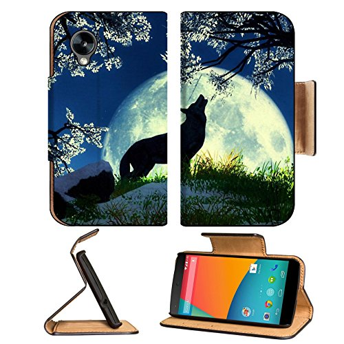 Wolf Howling Moon Night Flowers Google Nexus 5 Hammerhead Lg Flip Case Stand Magnetic Cover Open Ports Customized Made To Order Support Ready Premium Deluxe Pu Leather 5 11/16 Inch (145Mm) X 2 15/16 Inch (75Mm) X 9/16 Inch (14Mm) Msd Nexus Cover Professio