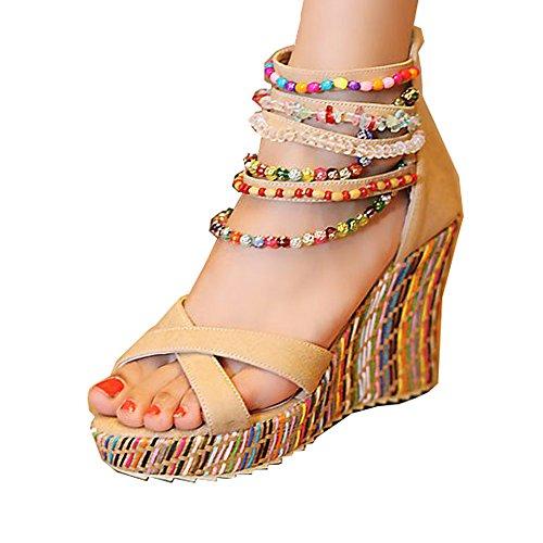Getmorebeauty Women's Wedge Sandals Pearls Across The Top Platform High Heels (10 B(M) US)