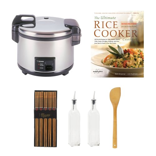 Zojirushi Nyc-36 20-Cup Commercial Rice Cooker & Warmer Bundle With Cookbook + Silk Wrapped Chopsticks + 2 Oil & Vinegar Bottles + Bamboo Spatula Spoon front-578019