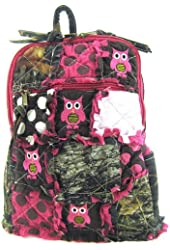 Cute! Patchwork Camo Owl Small Backpack Purse Pink Camouflage