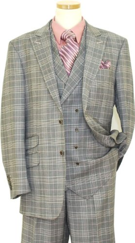 Tayion Platinum Collection Mauve / Black Plaid With Mauve Hand-Pick Stitching Super 140'S Extra Fine Wool Vested Suit HA00099 (US 44R/Euro 54 - 38 in. Waist)