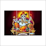 Nish! 'Religious & Spiritual' Collection | Shree Ganesha Painting On Tiles | Wall Art Highlighter Designer Digital Tiles (Ceramic Tiles - Gloss Finish, 3ft X 2ft, UV Cured, Set Of Three 1ft X 2ft Tiles) For Home, Living Room, Drawing Room, Temple