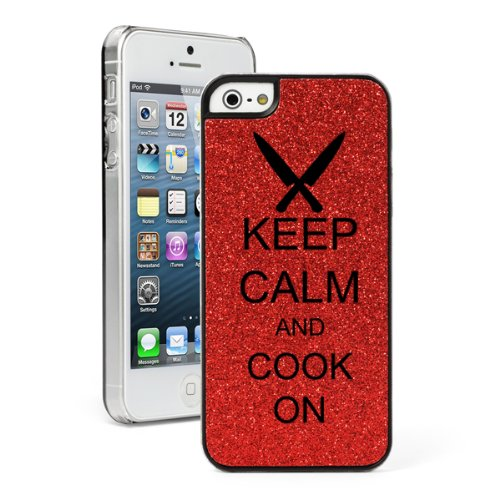 Red Apple Iphone 5C Glitter Bling Hard Case Cover Cg166 Keep Calm And Cook On Chef Knives