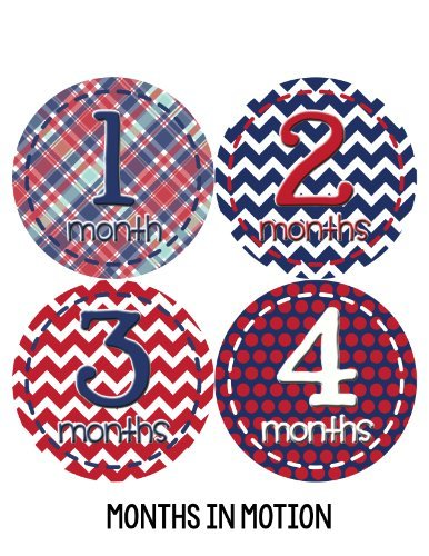 Months in Motion 271 Baby Month Sticker for Newborn Boy Navy Red Colorful Design