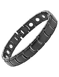 Willis Judd Mens All Black Titanium Magnetic Bracelet Brand New In Black Velvet Gift Box + Free Link Removal Tool
