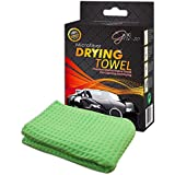 "#1 PREMIUM Microfiber Drying Towel, Big Size 25"" x 40"", 100% MONEY BACK GUARANTEE! Lint Free Waffle Weave Cloth for Car Wash, Scratch & Streak Free. Light Green, Easy Wring Outs. Perfect for cleaning Auto, Vehicle, Bike, Kitchen, Hair, Bathroom, Indoor, Shower, Pets, Sports, Dog or Cat. Better than Chamois. Make Your Car Glisten! Super Absorbing - up to 4X its own weight! FREE BONUS EBOOK INCLUDING!"