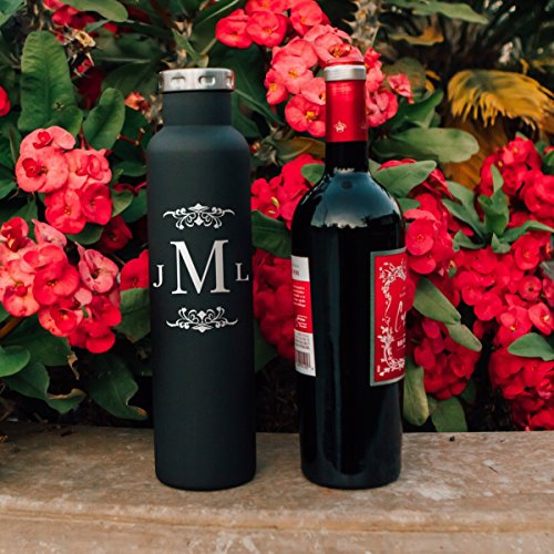 Personalized Monogram Wine Growler 750mm (25oz) Double Wall Insulated Vacuum Fifty Fifty Bottle | Personalized Gifts | Bridesmaids' Gifts | Couple Gifts Newly Wed Gift | Birthday Gift | Christmas Gift