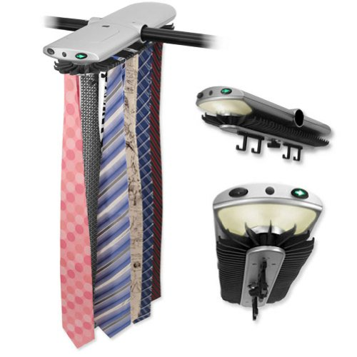 Men's Silver Electronic Closet Rack Tie Rack by Necktie Accessories