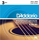 D'Addario ダダリオ アコースティックギター弦 フォスファーブロンズ Light .012-.053 EJ16-3D 3set入りパック 【国内正規品】 ランキングお取り寄せ