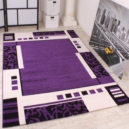 De Haute Qualite Tapis De Créateur à Motif En Violet Noir Blanc Super Qualité à Petit Prix,  Dimension:190x280 Cm