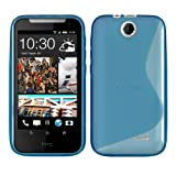 Kwmobile TPU CASE for HTC Desire 310 S Line design Blue - Stylish designer case made of premium soft TPU