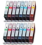 UCI CI BCI3 6 [ 16 Ink = 2 x Set = bMmCcYGR ] Compatible Ink Cartridge Replace For CANON Bubble Jet i9900, i9950, Pixma iP8500, Printer, BCI6BK, BCI6C, BCI6M, BCI6Y, BCI6PC, BCI6PM, BCI6G, BCI6R,