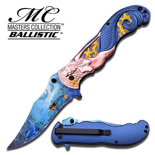 "AMAZING ""SIRENITY"" MERMAID FOLDING KNIFE - PINK WITH DARK BLUE TAIL"