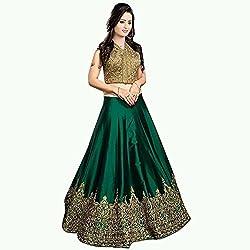 MAHAVIR FASHION Women's Royal Green Benglori Silk Embroidered Designer Lehenga Choli (Lehenga_511_Freesize_M Royal Green)