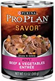 Purina Pro Plan Wet Dog Food, Savor, Adult Beef & Vegetables Entrée Slices In Gravy, 13-Ounce Can, Pack of 12