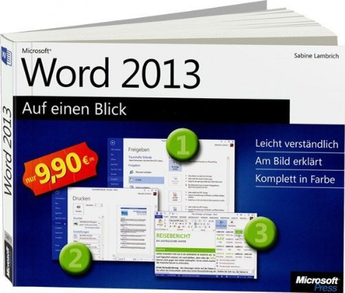 9 90 microsoft word 2013 auf einen blick von sabine lambrich auf book. Black Bedroom Furniture Sets. Home Design Ideas
