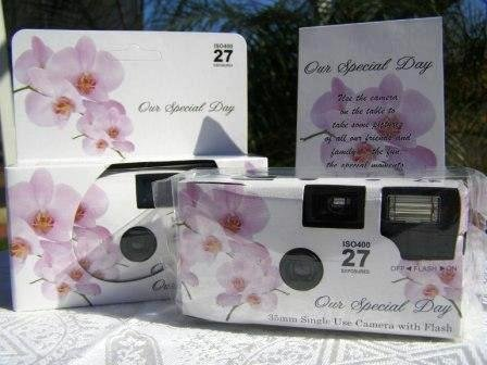 A 10 Pack of Lavender Orchid themed 35mm disposable wedding cameras with 35mm color film, 27 exposures, Wedding Favor for Candid Photos