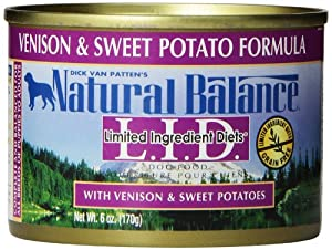 Natural Balance Canned Dog Food, Grain Free Limited Ingredient Diet Venison and Sweet Potato Recipe, 12 x 6 Ounce Pack