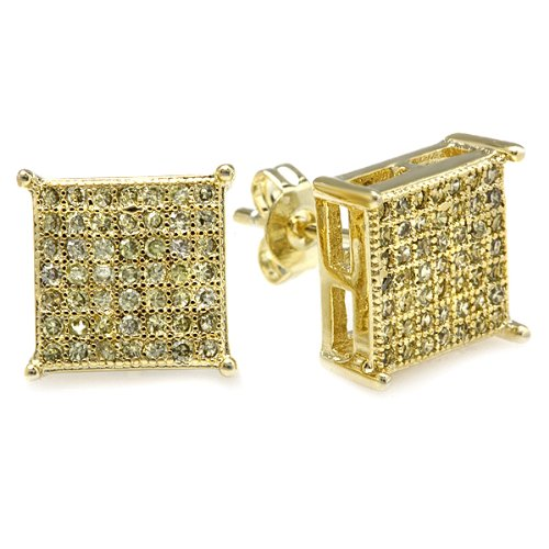 18k Yellow Gold Plated Yellow CZ Cubic Zirconia Cube Shaped Hip Hop Iced Cube Stud Earrings (9.5 mm x 9.5 mm )