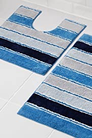 Chelsea Striped Bath & Pedestal Mats [T36-8469M-S]