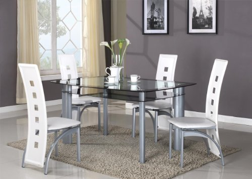 Roundhill Furniture Cinda Metal Contemporary Dining Room Chairs White