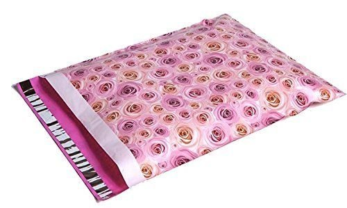 100 14x17 Pale Pink Roses Designer Mailers Poly Shipping Envelopes Bags