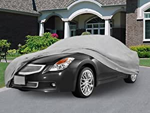 """NEH® SUPERIOR TRUE 100% WATERPROOF CAR COVER COVERS MID SIZE SEDAN - ALL SEASON PROTECTION - GRAY COLOR - 3x PILLOW SOFT INNER COTTON LAYER (FITS LENGTH 190"""" - 210"""")"""