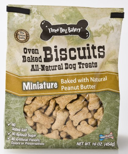 Three Dog Bakery Biscuits Miniatures Peanut Butter,