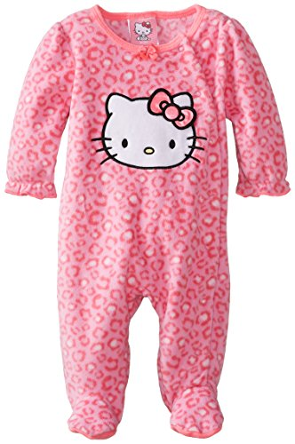 Hello Kitty Baby Baby-Girls Newborn Microfleece Sleep-N-Play With Bow, Shocking Pink Swatch, 0-3 Months front-251094