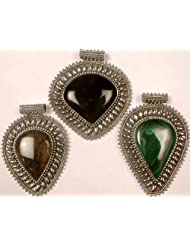 Exotic India Lot Of Three Large Gemstone Pendants(Black Onyx, Labradorite & Malachite) - Sterling Si