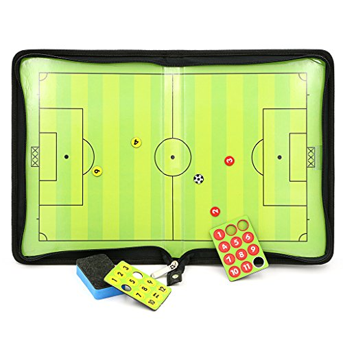 Hipiwe Football /Soccer Coach Magnetic Board with Zipper - Perfect Leather Soccer Tactics Board for Coaches, Players (Football Coach Board compare prices)