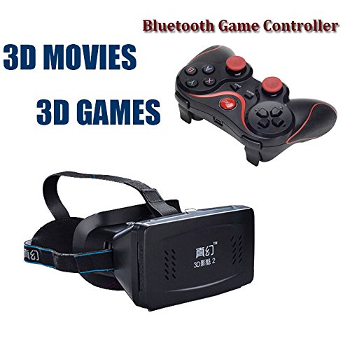 VIGICA Virtual Reality 3D Video Glasses + Bluetooth Game Controller for Android Phone,PC,Windows,Set-top Boxes