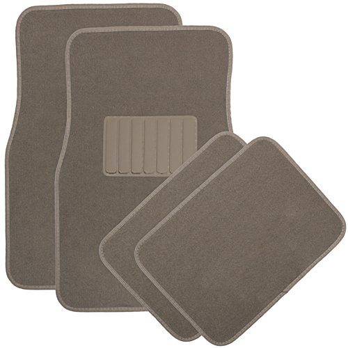 Oxgord Front & Back Seat All-Weather Carpet Floor Mats, Tan front-634441