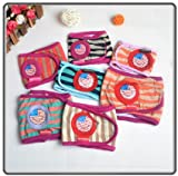 SET - 3pcs STRIPED Dog Puppy Diaper MALE Boy Belly Band Reusable Washable for SMALL Dog Breeds Random Colors (S - Waist 11