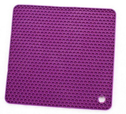 Allforhome Purple Square Honeycomb Silicone Heat Resistant Coasters Tableware Insulation Pad Potholders Insulation Mat