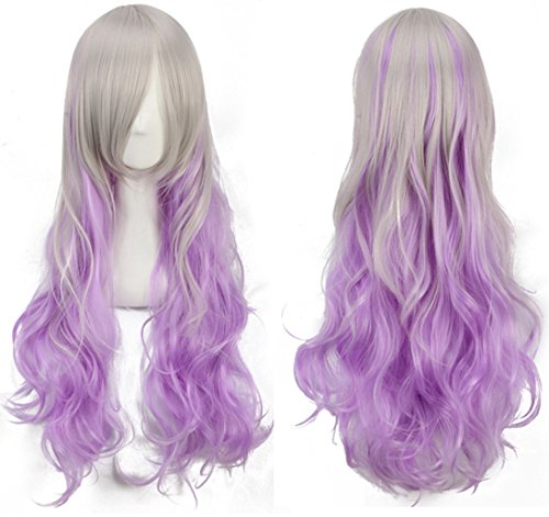 [Jooyi ®New Arrival Flat Bang Curly Purple Mix Blonge Anime Cosplay Wigs Korean Style Make the face look smaller Hair] (Lavender Marie Antoinette Wig)